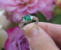Natural Emerald Engagement Ring with Trillion Cut Diamonds in 14k White Gold