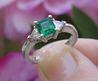Natural Emerald Wedding Ring with Trillion Cut Diamonds in 14k White Gold