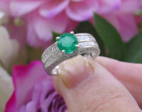 Natural Round Emerald Wedding Ring with real diamonds in solid 18k white gold for sale