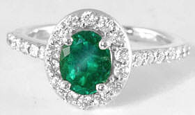Oval Emerald Ring in 14k White Gold