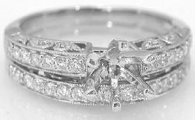 Vintage Style 0.60 ctw Diamond Semi Mount and Matching Wedding Band in 14k gold