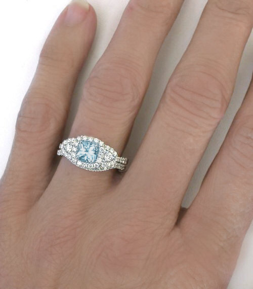 princess cut aquamarine engagement wedding rings - Aquamarine Wedding Rings