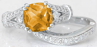 Citrine Engagement Ring and Wedding Band