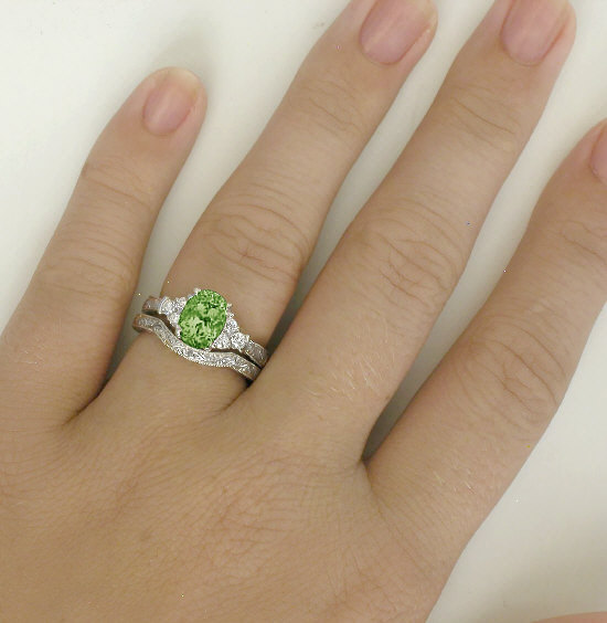 Peridot and Diamond Engagement Ring with Engraving GR 3106