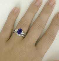 Iolite Wedding Rings with Engraving
