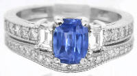 Ceylon Sapphire and Diamond Engagement Ring and Matching Wedding Band