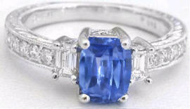 Cushion Cut Sapphire and Diamond Ring in 14k white gold