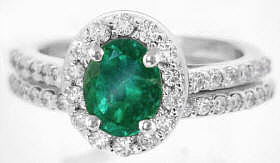 Emerald Engagement Ring with Matching Band