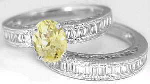Yellow Sapphire Baguette Diamond Engagement Ring and Band in 18k
