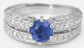 1.25 ctw Ceylon Sapphire and Diamond Ring with 0.25 ctw Diamond Band in 14k white gold
