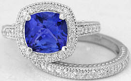 2.70 ctw Tanzanite Cushion and Diamond Engagement Ring in 14k white gold
