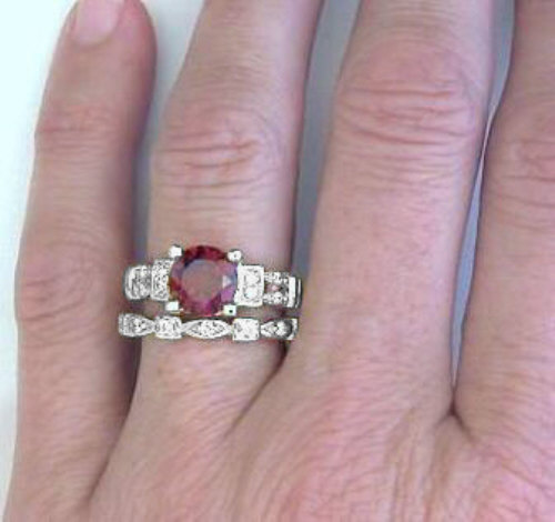 garnet engagement ring with matching eternity band