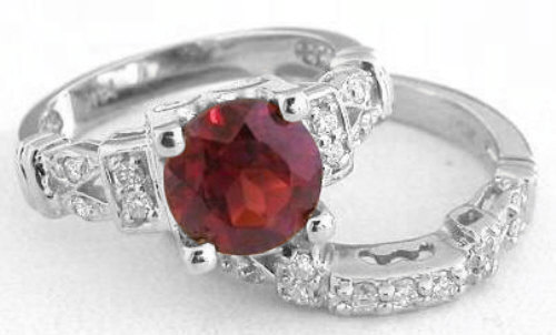 Garnet and Diamond Engagement Ring with 3 Matching Wedding Band