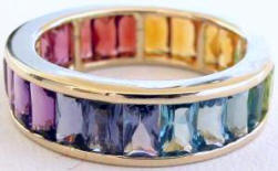Baguette multi-gemstone eternity band ring.