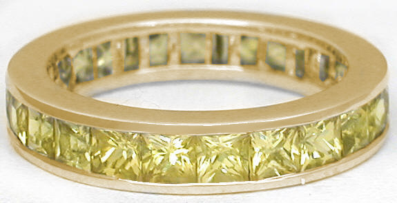 Channel Set Yellow Shire Eternity Band Princess Cut Anniversary Rings In 14k Gold
