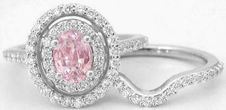 Pink Sapphire and Diamond Engagement Ring in 14k white gold