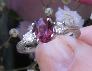 Oval Rhodolite Garnet and Real Diamond Three Stone Engagement Ring in solid 14k white gold for sale