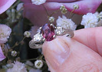Oval Rhodolite Garnet and Real Diamond Engagement Ring in Vintage Design solid 14k white gold