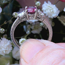 Oval Cut Rhodolite Garnet and Real Round Diamond Three Stone Wedding Ring in solid 14k white gold for sale