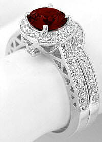 Garnet and Diamond Engagement Ring with Wedding Band