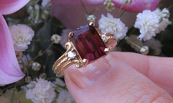 Large Emerald Cut Rhodolite Garnet Engagement Ring with Rope Design in solid 14k real yellow gold for sale