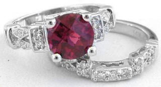 Rhodolite and Diamond Engagement Ring and Wedding Band