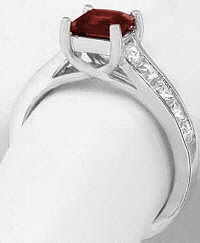 Princess Cut Garnet and Diamond Engagement Ring with Lucida Basket