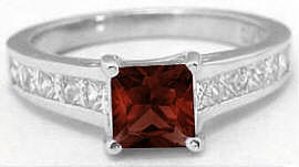 1.80 ctw Princess Cut Garnet and White Sapphire Ring in 14k white gold