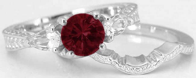 round garnet pear white sapphire engagement ring in 14k with matching band