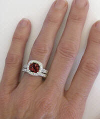 Cushion Cut Garnet Engagement Ring with Straight Band