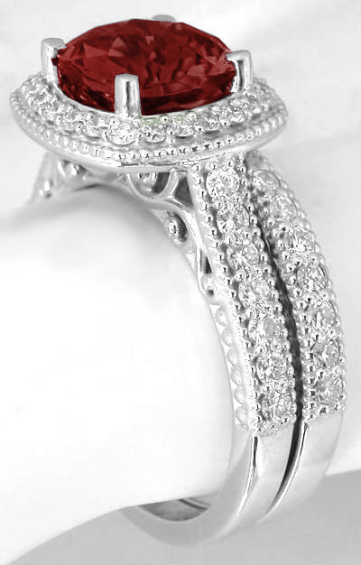 Cushion Cut Checkerboard Faceted Garnet Diamond Halo Engagement Ring And Matching Diamond