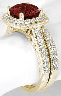 Garnet Diamond Halo Engagement Ring with Matching Band in 14k Yellow Gold