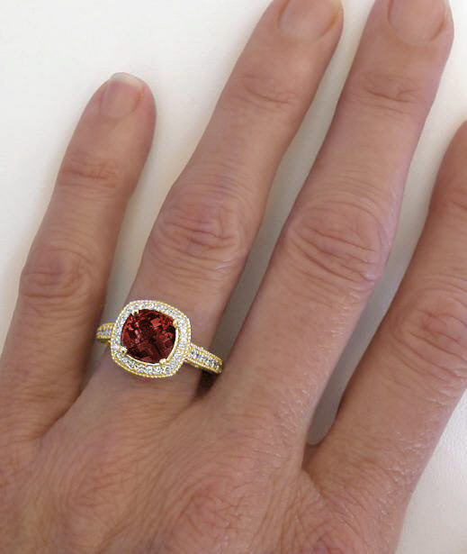 Garnet Ring Bands: Cushion Garnet And Diamond Ring With Diamond Halo And