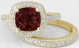 Garnet Diamond Halo Engagement Ring in 14k Yellow Gold