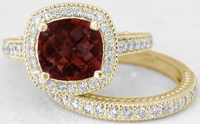 garnet diamond halo engagement ring in 14k yellow gold - Garnet Wedding Rings