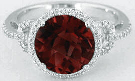 Garnet and Diamond Engagement Ring in 14k White Gold