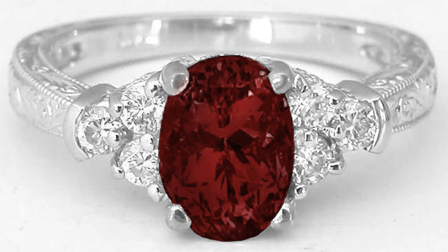 Garnet And Diamond Ring With Engraving On 3 Sides In 14k