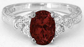 Vintage Garnet and Diamond Engagement Rings with Engraving