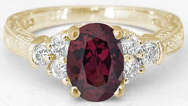 Vintage 1.95 ctw Rhodolite and Diamond Engagement Ring in 14k yellow gold