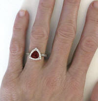 Custom Trillion Cut Garnet and Diamond Ring
