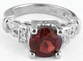 Round Garnet and Diamond Ring in 14k white gold
