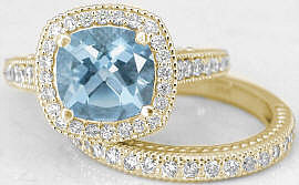 Cushion Cut Aquamarine and Diamond Engagement Ring with Wedding Band in 14k