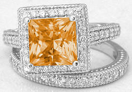 Princess Cut Citrine Engagement Rings with Matching Band