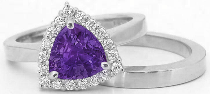 Trillion Cut Amethyst and Diamond Halo Engagement Ring with Matching