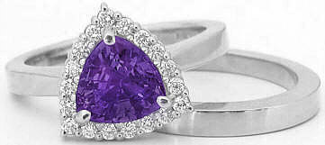 Trillion Amethyst and Diamond Engagement Ring in 14k white gold