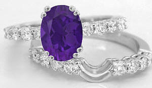 Oval Amethyst Engagement Rings