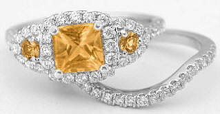 Citrine Engagement Ring with Matching Band