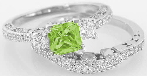 princess cut peridot engagement rings peridot engagement ring and wedding band - Peridot Wedding Rings