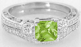 Princess Cut Peridot Engagement Rings