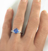 Pear Shaped Blue Sapphire Trillion White Sapphire Engagement Ring